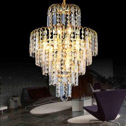 Купить New Creative Warm Iron LED Gold Crystal Chandelier 220V с хорошей скидкой