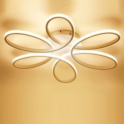 Купить со скидкой EverFlower Modern Simple Floral Shape LED Semi Flush Mount Ceiling Light With Max 75W Painted Finish