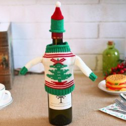 Купить Knitting Wool Wine Bottle Cover for Christmas по акционной цене
