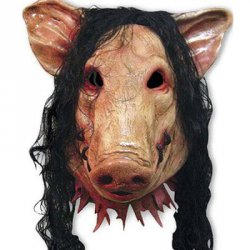 Купить со скидкой Halloween Supplies Cosplay Scary Pig Head With Hair Mask Prop