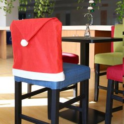 Купить со скидкой Yeduo Hort Santa Claus Hat Chair Covers Christmas Dinner Table Party
