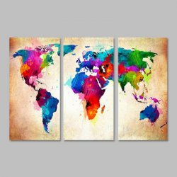 Купить дешево World Map Home Decoration Canvas Painting 3PCS со скидкой