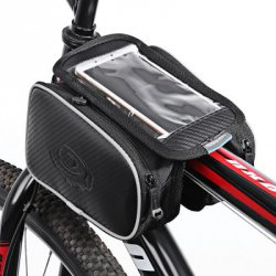 Купить Roswheel 12813 1.8L Bicycle Front Top Tube Frame Bag 5.5 Inches Mobile Phone Pocket + Dual Pouches с хорошей скидкой