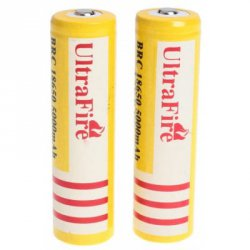 Купить дешево UltraFire 18650 High Capacity 3.7V 5000mAh Li - ion Rechargeable Battery - 2 - Pack Yellow without Protection Board со скидкой