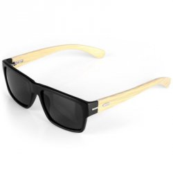 Акция на товар Fashionable Outdoor Sunglasses Wooden Legs Quadrate Frame Black PC Lens with Zippered Box