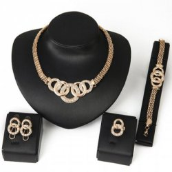 Купить недорого Chic Rhinestone Annulus Necklace Bracelet Ring and A Pair of Earrings For Women