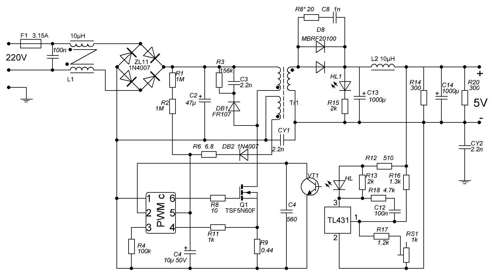 Схема б.п. на 5 вольт