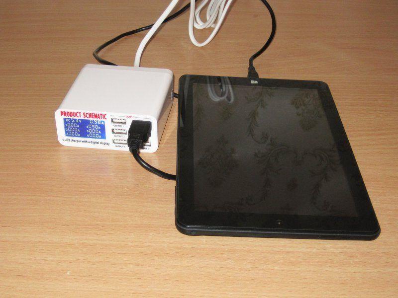 Зарядное устройство 5 Вольт, 6 Ампер, 6 портов + индикация тока заряда