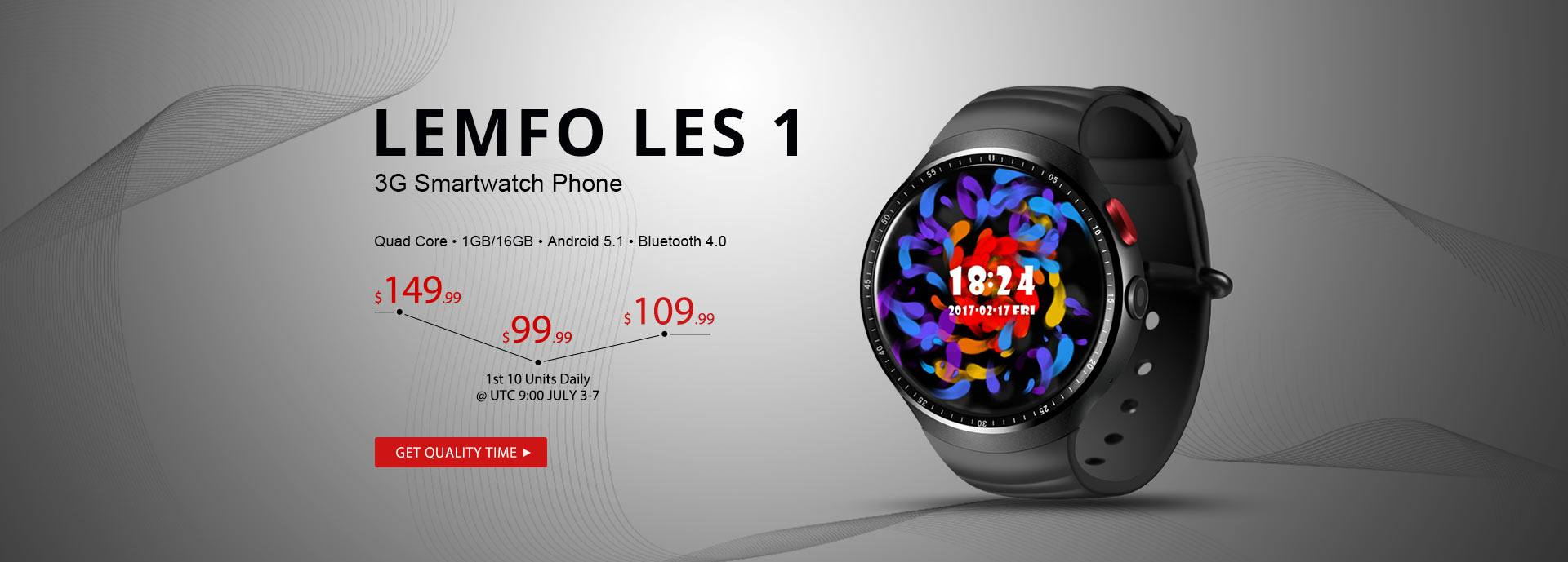 The 2017 Top Smartwatch Phone LEMFO LES 1 Flash Sale From $99.99