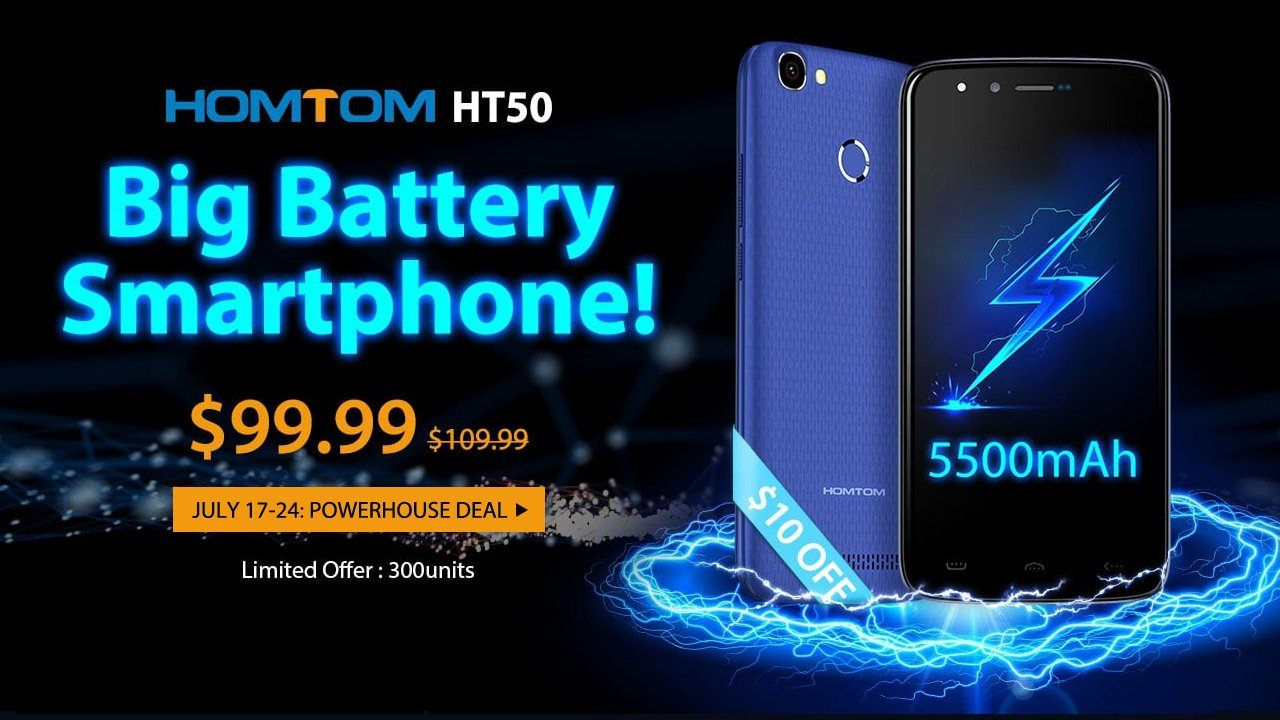 The 2017 Best Big Battery Smartphone Homtom HT50 Flash Sale from $99.99