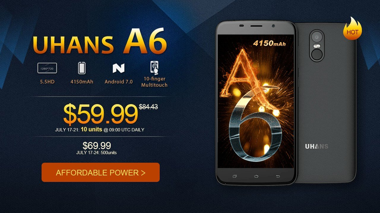 The 2017 Top Android Unlocked Phone Uhans A6 Flash Sale from $59.99