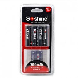 Soshine 14500 Lifepo4 Battery Kit 700 mAh