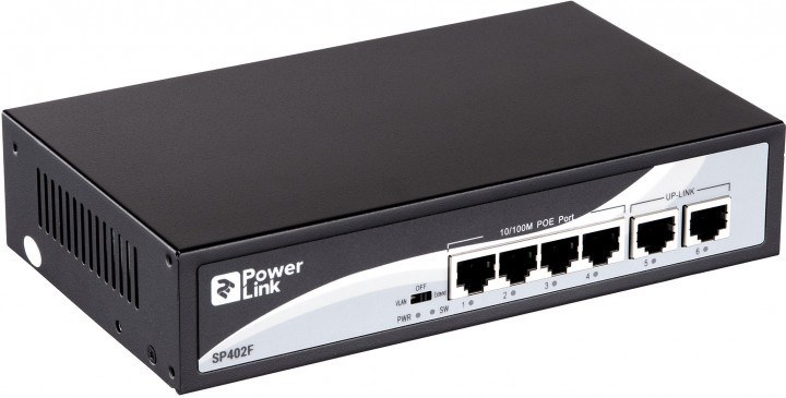 Недорогой PoE коммутатор PowerLink SP402F на 4+2 порта
